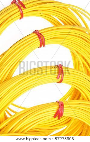 Yellow fiber optic cables