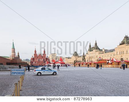 Police Car On The Red Square