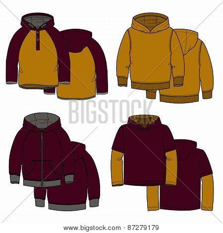 Vinous and mustard hoodies