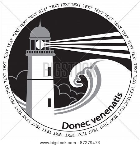 Lighthouse Poster Label.black Graphic Image For Text