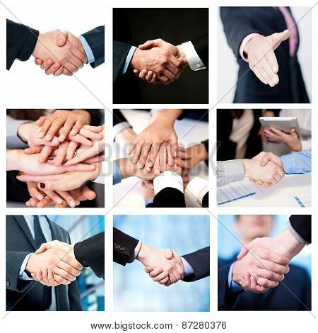 Team Work And Business Handshake, Collage