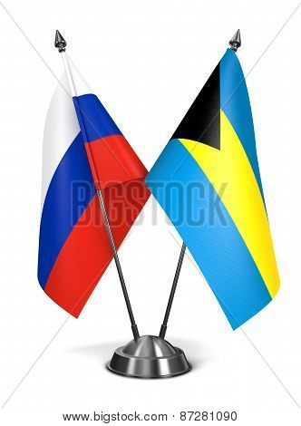 Russia and Bahamas - Miniature Flags.