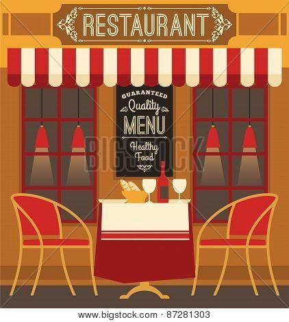 Vector Modern Flat Design Illustration Of Restaurant.