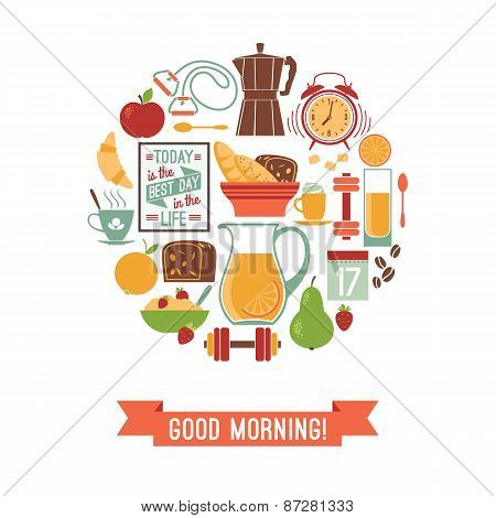 Vector Modern Flat Design Illustration Of  Good Morning.