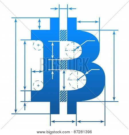 Bitcoin Symbol With Dimension Lines