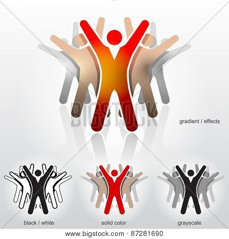 Group Of Abstract People With Their Hands Up