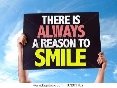 There Is Always a Reason to Smile card with sky background