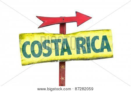 Costa Rica sign isolated on white background