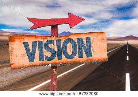 Vision sign with road background