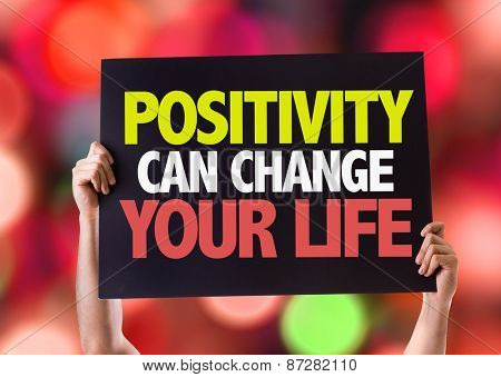 Positivity Can Change Your Life card with bokeh background