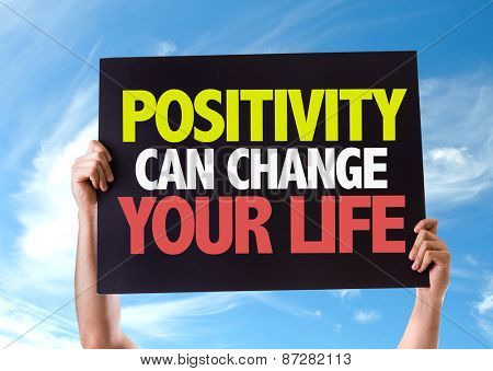 Positivity Can Change Your Life card with sky background