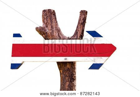 Costa Rica Flag sign isolated on white background