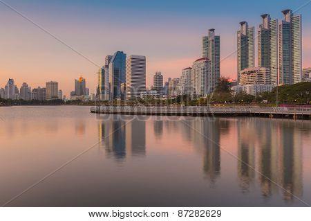Sunset at Bangkok city downtown with reflection