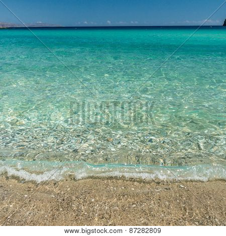 Beautiful sea water on Su Guideu beach, Sardinia island, Italy