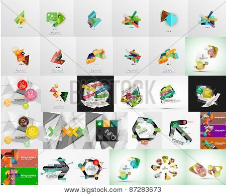 Mega set of infographic layouts, labels, web boxes and elements for your text