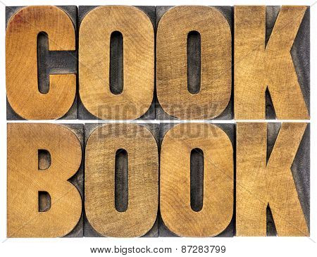 cookbook word abstract  - isolated text in letterpress wood type