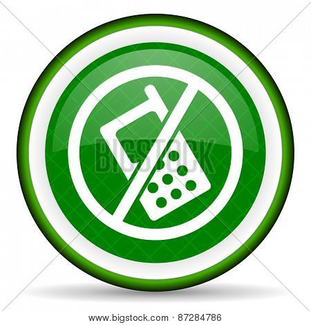no phone green icon no calls sign