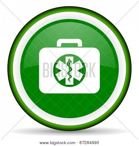 rescue kit green icon emergency sign