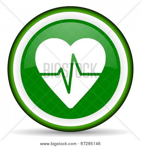 pulse green icon heart rate sign