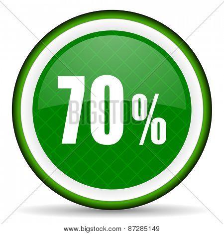 70 percent green icon sale sign