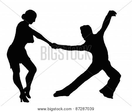 Latin Couple Silhouette Dancers Fotografía