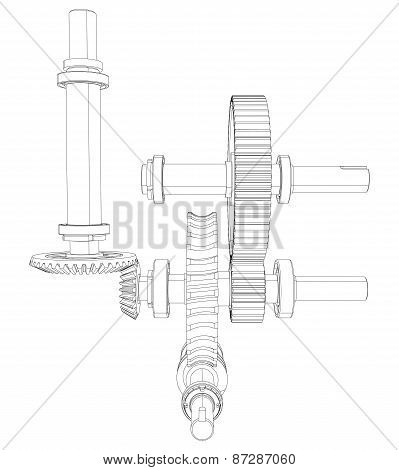 Reducer consisting of gears, bearings and shafts. Vector