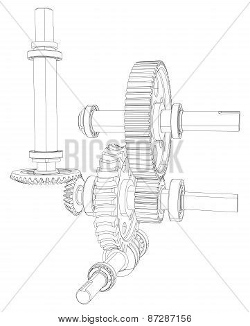Gears with bearings and shafts. Vector