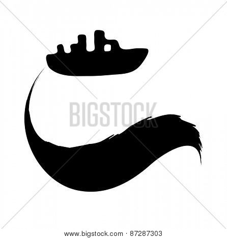 oil spill from the tanker, black vector illustration