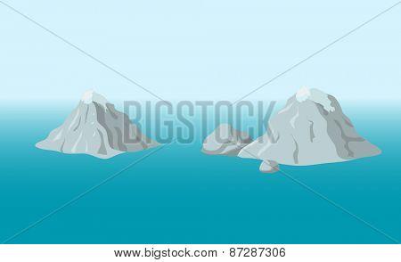 mountainous island in the ocean, vector illustration