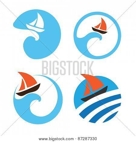 Yachts and sailing boats, regata. Set of vector logos
