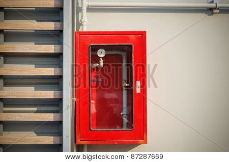 Sprinkler Red Control Box On Wall