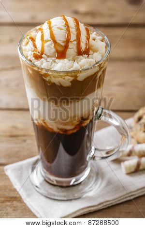 iced coffee with milk and caramel ice cream