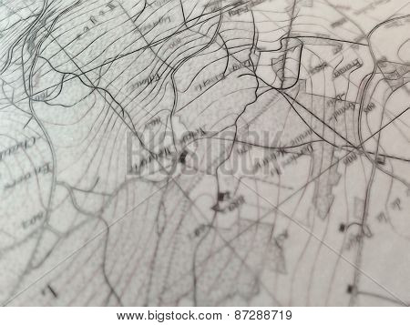 closeup view of a geographic map detail with a selective focus