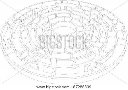 Wire-frame round intricate labyrinth. Vector