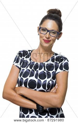 Confident Smiling Woman In A Trendy Fashion