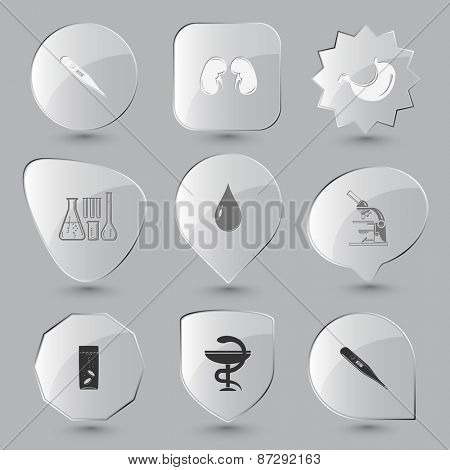 Medical set. Raster glass buttons.