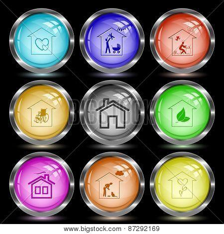 Home set. Internet button. Raster illustration.