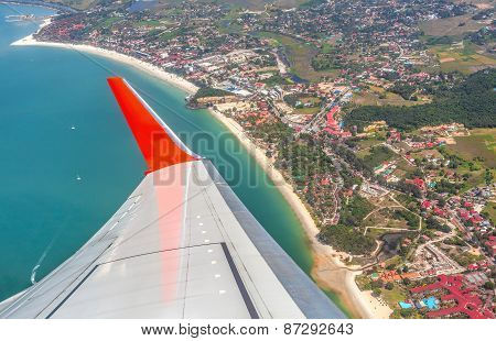 Wing Of The Plane Above Langkawi Island, Malaysia.