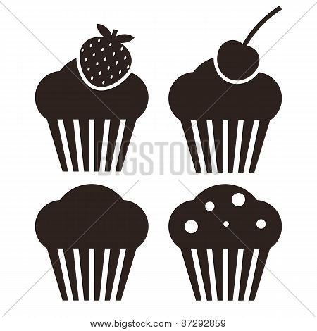 Muffin Set. Cupcake Icons