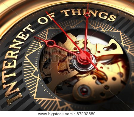 Internet of Things on Black-Golden Watch Face.