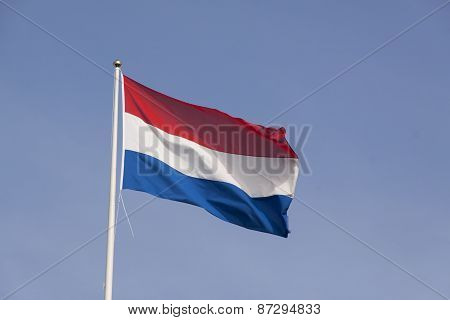 Dutch Flag In The Wind Waving