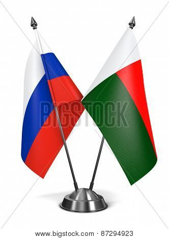 Russia and Madagascar - Miniature Flags.