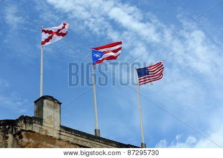 Three Flags at Castillo de San Cristobal, San Juan