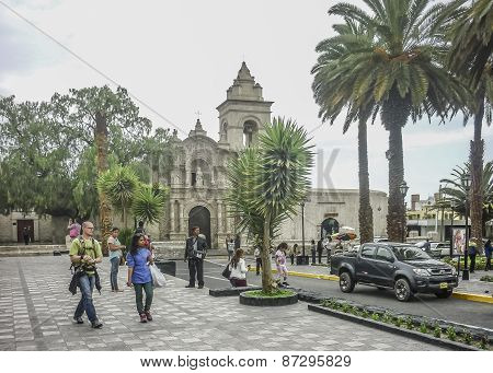 Old Style Square In Arequipa City In Peru