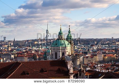 Scenic summer view of Old Town architecture in Prague, Czech Republic