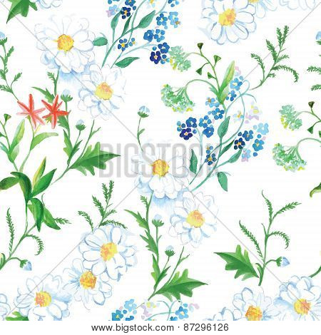 Blooming Meadow Floral Seamless Vector Print