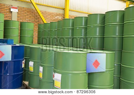 Green Metal Barrels