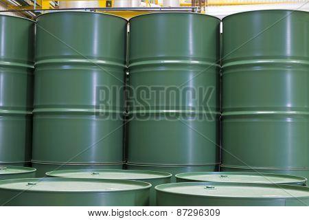 Green Metal Barrels