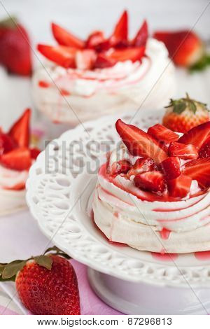 Pavlova Meringue Cake Decorated With Fresh Strawberry