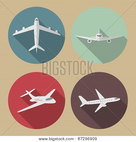 Vector Airplane Flat Icons